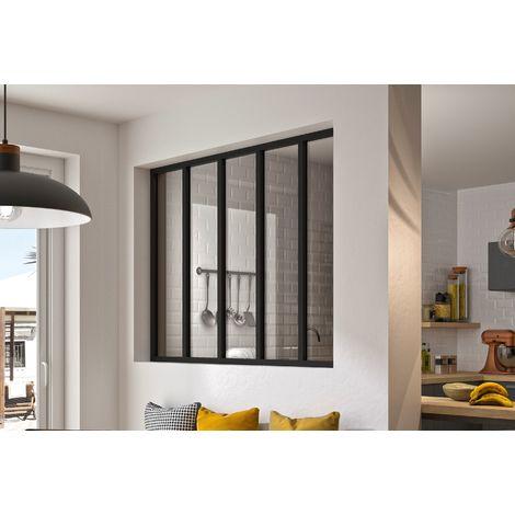 kit verriere 5 carreaux 115 x 148 7 cm noir aluminium et verre trempe 4 mm