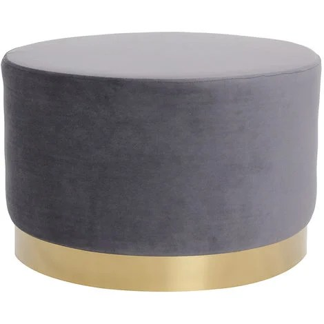 pouf rond en velours metal 54 cm amaya gris velours