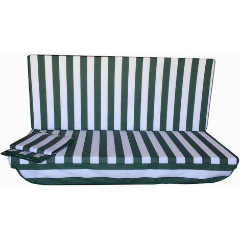 Stiliac 9411t302 set cuscini e tettuccio di ricambio per dondolo 3 posti, verde,. Stiliac Cuscino Di Ricambio Per Dondolo A 3 Posti Con Cappotta Seduta Da 135