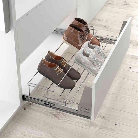 range chaussures coulissant pour facade charge 45 kg profondeur 485 mm hauteur 135 mm decor chrome largeur maxi 1000 mm largeur