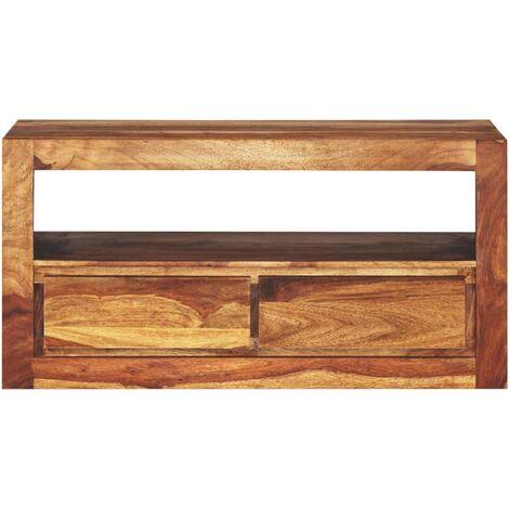 meuble tele buffet tv television design pratique bois massif de sesham 80 cm bois