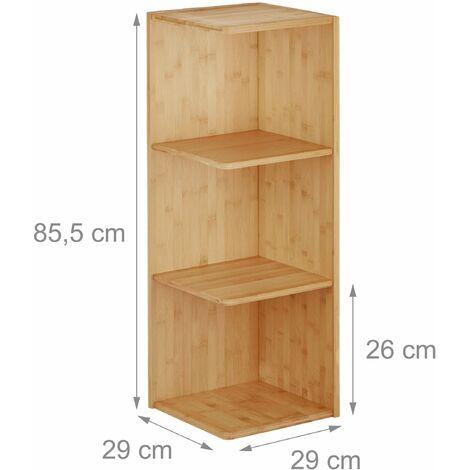 etagere d angle salle de bain en bambou 85 cm