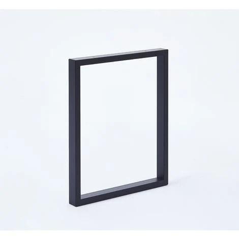 lot de 2 pieds de table forme rectangulaire pour banc hauteur 40cm largeur 39cm noir mat