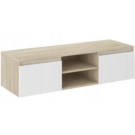 goreme meuble bas tv contemporain salon sejour 120x40x36 2 niches 2 portes rangement moderne materiel audio video gaming sonoma blanc