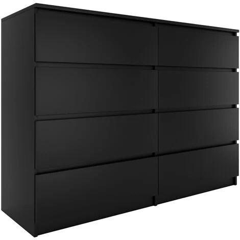 milan commode contemporaine 138x97x40 chambre salon bureau 8 tiroirs coullissants meuble de rangement moderne chiffonier noir