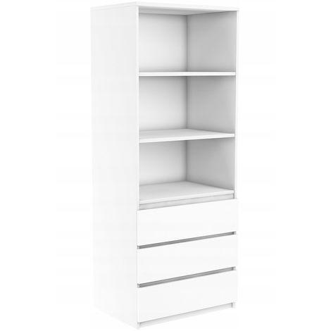 orense meuble de rangement avec casiers bureau salon chambre 180x74x35 bibliotheque contemporaine etageres livres deco blanc