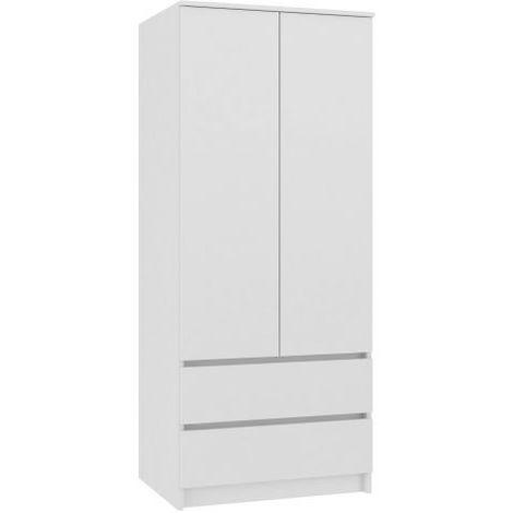 Turin Armoire Chambre Bureau Penderie Multifonctions 2 Portes 2 Grands Tiroirs Coulissants Meuble De Rangement Dressing Blanc Blanc Top Ss 90 White