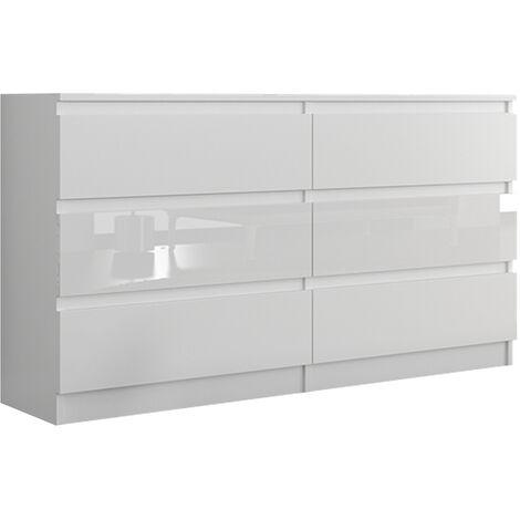 munich w1 commode contemporaine chambre salon bureau 140x77x30 dressing 6 tiroirs meuble de rangement scandinave blanc laque