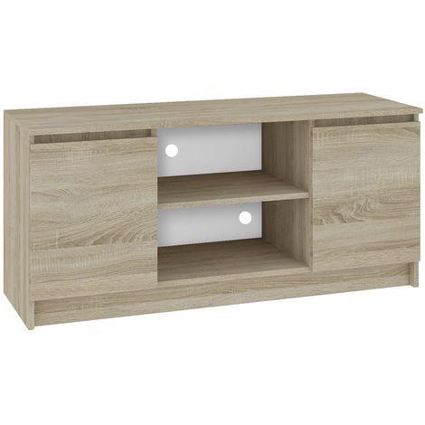 dusk meuble bas tv contemporain salon sejour 120x55x40 cm 2 niches 2 portes rangement materiel audio video gaming sonoma