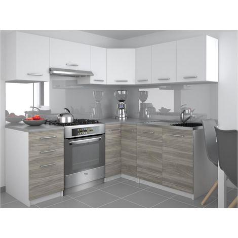 darcia cuisine complete d angle l 300 cm 9 pcs plan de travail inclus ensemble armoires cuisine blanc silver