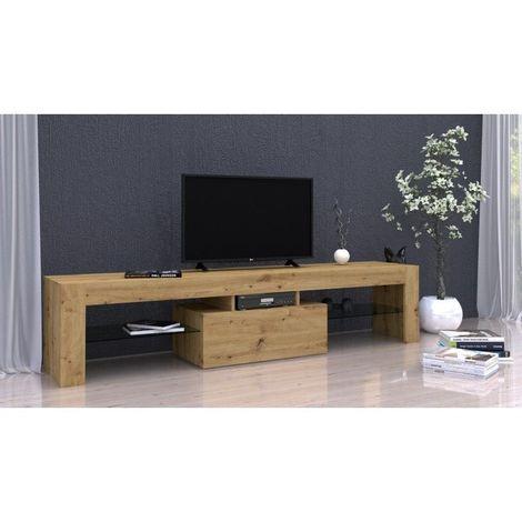 rosalie meuble tv moderne avec etageres en verre dimensions 45x160x40 rangement materiel audio video meuble television chene