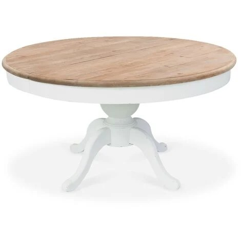 table ronde extensible en bois massif sidonie blanc