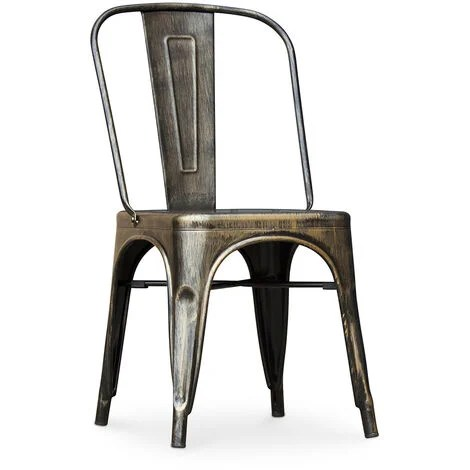 chaise style tolix siege carre metal bronze metallise