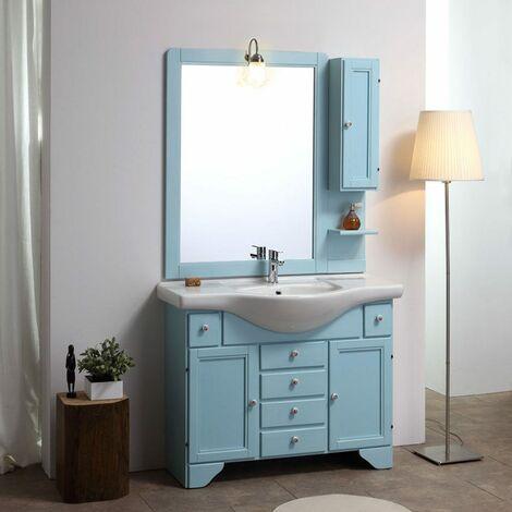 Anche mondo convenienza nella sezione arredo bagno degli showroom come. Mobile Bagno Stile Shabby Chic Decape Azzurro Lavanda Cm 105