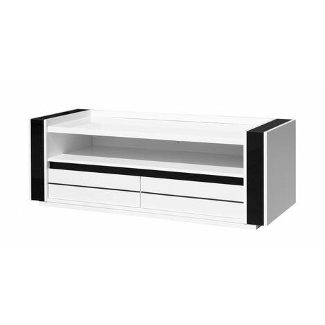 meuble tv lina blanc et noir brillant