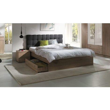 ensemble pour chambre a coucher maxim lit adulte deux places 160x200 cm tiroir sommier deux chevets marron