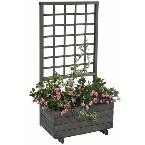 jardiniere avec treillis hellbrunn l 68 cm x h 140 cm gris vintage