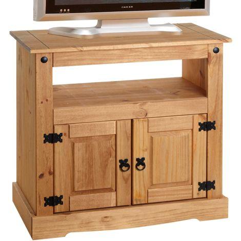 meuble tv tequila de 80 cm en bois style mexicain avec 2 portes et 1 niche en pin massif finition teintee ciree