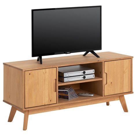 meuble tv tivoli banc tele de 114 cm design vintage scandinave nordique 2 portes et 2 niches en pin massif finition bois teinte