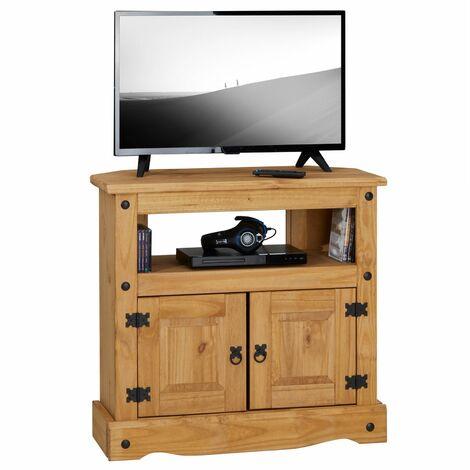 meuble tv salsa banc television de 85 cm en bois style mexicain avec 2 portes et 1 niche en pin massif finition teintee ciree