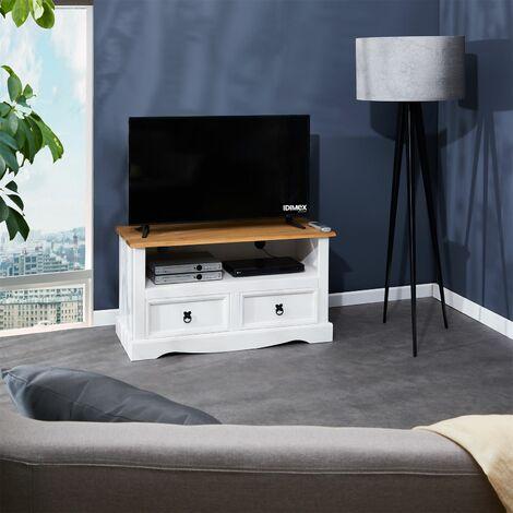 meuble tv campo banc television en pin massif blanc et brun avec 2 tiroirs et 1 niche meuble de rangement style mexicain en bois