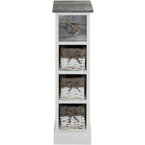 chiffonnier flower petit meuble avec 1 tiroir et 3 paniers etagere en bois de paulownia blanc et gris style shabby chic