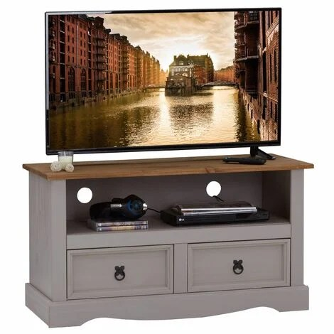 meuble tv ramon banc television en pin massif gris et brun avec 2 tiroirs et 1 niche meuble de rangement style mexicain en bois