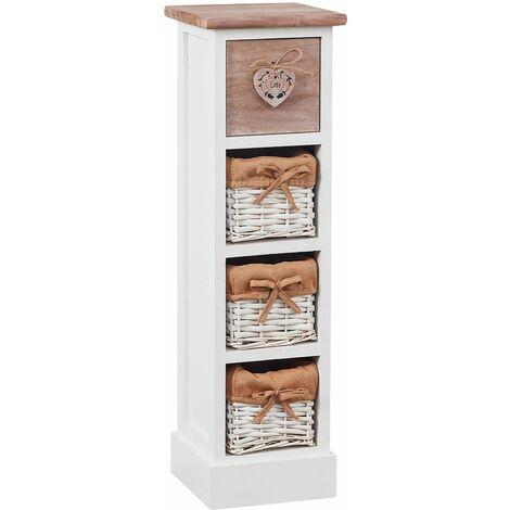 chiffonnier flower petit meuble avec 1 tiroir et 3 paniers etagere en bois de paulownia blanc et brun style shabby chic