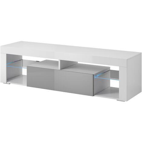 e com meuble tv armoire tele table television titan 140 cm blanc gris led gris
