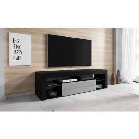 e com meuble tv armoire tele table television titan 140 cm noir gris negro