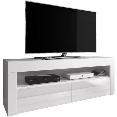 e com meuble tv armoire tele table television luna 140 cm mat blanc et blanc brillant blanc