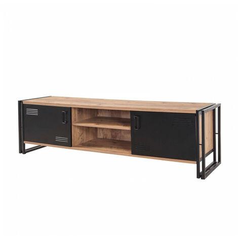 meuble tv 180 cm tenga pin atlantique et noir