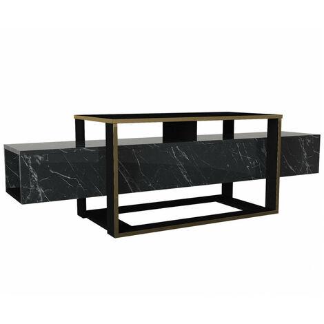meuble tv 160 cm kilia noir et or