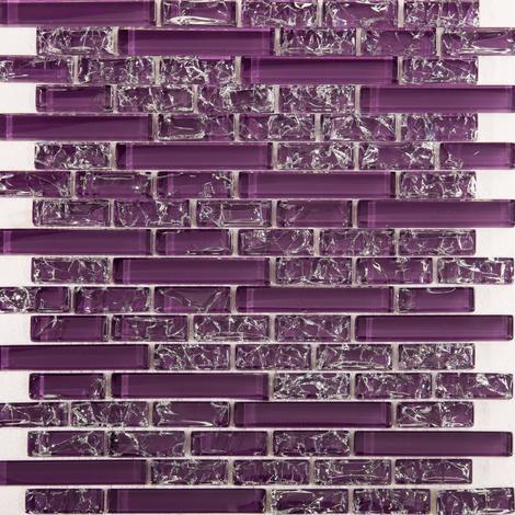 purple crackle and plain glass mosaic wall tile sheet mt0168