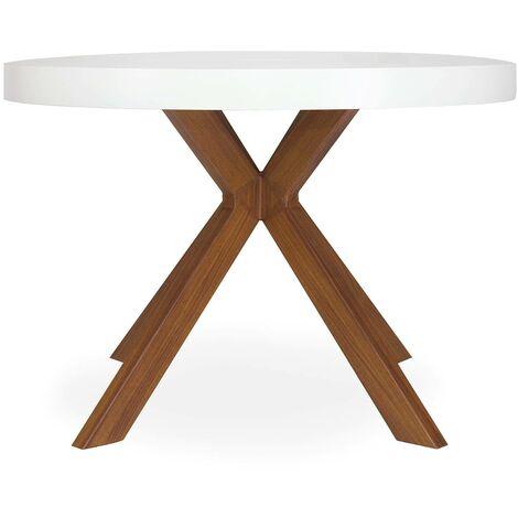 table ronde extensible myriade blanc bois blanc