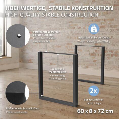 set 2 pieds de table industriel rectangulaire support banc meuble gris 60x72cm