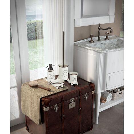 set 4 pieces d accessoires de salle de bains shabby en ceramique decoree amelia