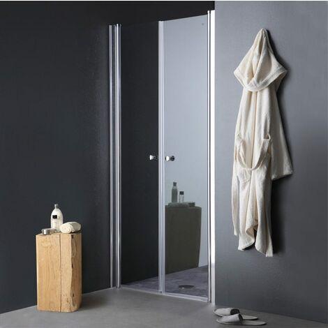 porte de douche ouverture a saloon pour niche de 80 cm
