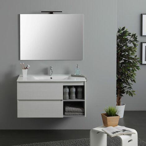meubles salle de bain 90 cm avec tiroir et cabinet a jour lavabo et eclairage a led