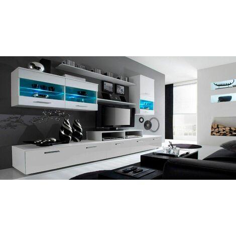 ensemble de meubles de salon tv ilumin led blanc mate blanc laque 250x194x42cm