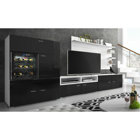 ensemble meubles tv refriger la sommeliere laque noir blanc mat 295x175x57 40 cm