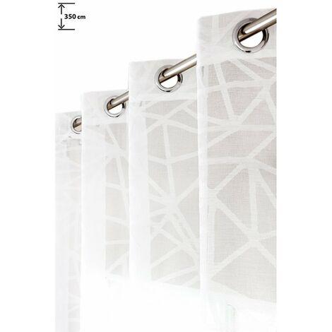 voilage 135 x 350 cm jacquard grande hauteur a oeillets motifs geometriques blanc blanc blanc