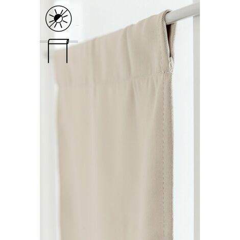 vitrage occultant 45 x 90 cm passe tringle petite largeur uni protege de la lumiere ecru ecru ecru
