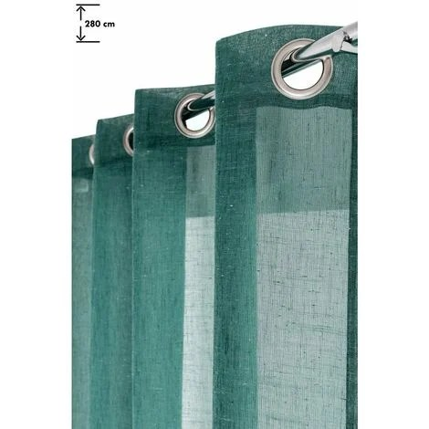 voilage effet lin grande hauteur a oeillets 140 x 280 cm uni vert sauge vert vert
