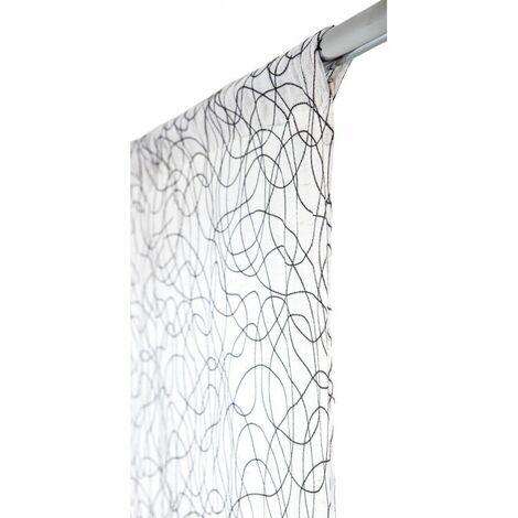 vitrage 70 x 240 cm passe tringle effet naturel gribouillis brodes gris gris gris