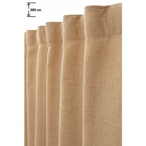 rideau tamisant 135 x 280 cm grande hauteur a galon fronceur pattes cachees chine naturel naturel naturel