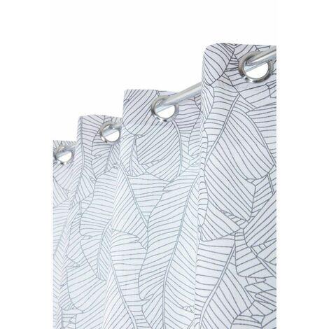 rideau 140 x 240 cm a oeillets imprime style scandinave motif feuilles de bananier anthracite blanc blanc