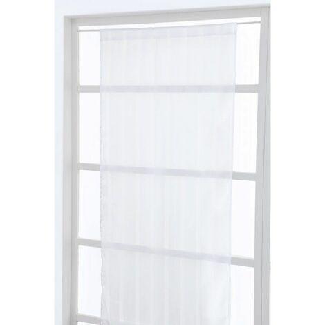 vitrage 70 x 200 cm a passe tringle brillant a rayures blanc blanc blanc