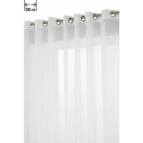 voilage 280 x 240 cm a 14 oeillets effet lin et coton style naturel grande largeur a rayures ecru ecru ecru