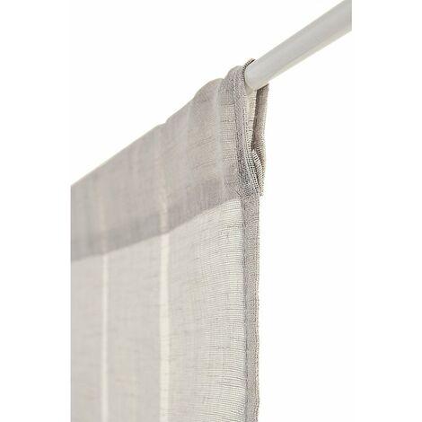 voilage vitrage 60 x 240 cm a passe tringle tissu leger effet gaze de lin a rayures verticales style naturel gris gris gris